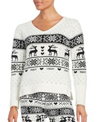 Betsey Johnson | White Patterned Knit Sweater | Lyst