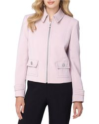 Tahari | Pink Petite Zip-front Flap Jacket | Lyst