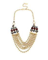 Kenneth Cole | Metallic Gold-tone Beaded Statement Necklace | Lyst