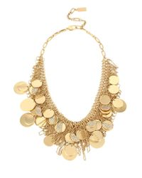 Kenneth Cole | Metallic Gold-tone Pave Shaky Disc Mesh Statement Necklace | Lyst