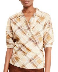 Lauren by Ralph Lauren | Multicolor Plaid Crepe Wrap Shirt | Lyst