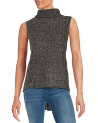 Lord & Taylor | Gray Hi-lo Sleeveless Turtleneck Sweater | Lyst
