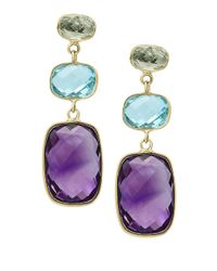 Effy | Metallic Mosaic Amethyst, Topaz And 14k Yellow Gold Drop Earrings | Lyst