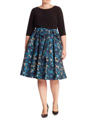 Adrianna Papell | Blue Floral Jacquard Flared Skirt | Lyst