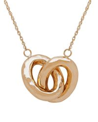 Lord & Taylor   Metallic 14k Gold Interlocked Double Oval Hollow Pendant Necklace   Lyst