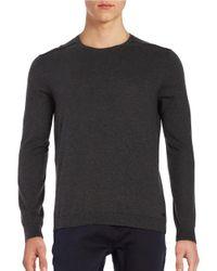 John Varvatos   Gray Long Sleeve Crewneck Sweater for Men   Lyst