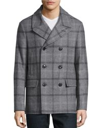 Michael Kors | Gray Wool-blend Plaid Peacoat for Men | Lyst