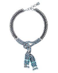 BCBGMAXAZRIA | Blue Chain Stone Necklace | Lyst