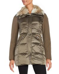 French Connection | Multicolor Faux Fur-trimmed Puffer Coat | Lyst