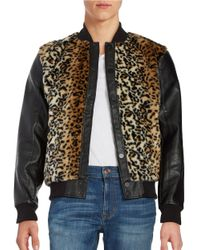 Laboratory Lt Man Brown Leopard Print Faux Fur And Faux Leather Jacket for men