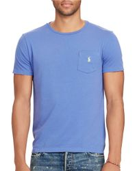 Polo Ralph Lauren   Blue Cotton Jersey Pocket Tee for Men   Lyst