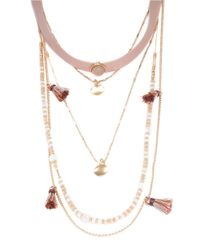 Lord & Taylor | Pink Beaded And Faux Leather Layer Necklace | Lyst