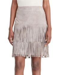 Lauren by Ralph Lauren | Natural Fringed Suede Skirt | Lyst