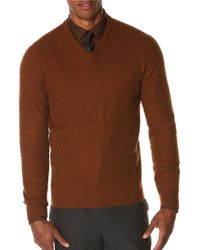 Perry Ellis | Brown Solid Textured V-neck Sweater for Men | Lyst