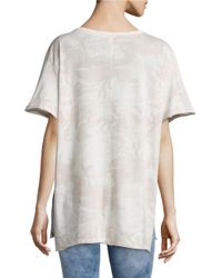 Free People White Knit Camouflage Tee