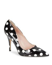kate spade new york | Black Licorice Dotted Leather Pumps | Lyst