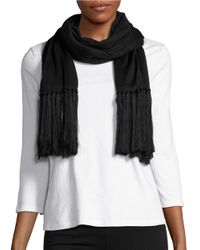 Lauren by Ralph Lauren | Black Long Fringed Scarf | Lyst
