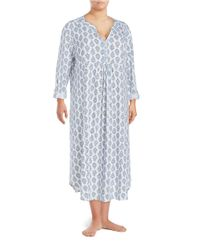 Carole Hochman | Blue Plus Floral Cotton Nightgown | Lyst