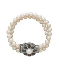 Lord & Taylor | Metallic Double Strand Diamond And Pearl Floral Bracelet | Lyst
