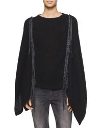 Calvin Klein | Black Knit Tasseled Poncho | Lyst