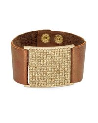 Panacea | Metallic Faux Leather And Crystal Pave Cuff | Lyst