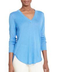 Lauren by Ralph Lauren   Blue Silk-blend V-neck Sweater   Lyst