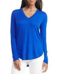 Lauren by Ralph Lauren | Blue Petite Silk-blend V-neck Sweater | Lyst