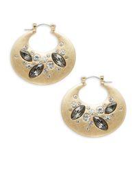 Lord & Taylor | Metallic Embellished Hoop Earrings, 1 In | Lyst