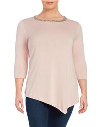 Lord & Taylor | Pink Plus Solid Roundneck Top | Lyst