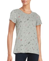 French Connection | Gray Roundneck Cotton Top | Lyst