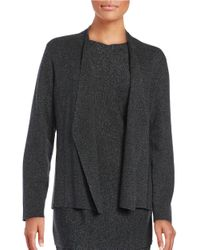 Eileen Fisher   Gray Open Front Cardigan   Lyst