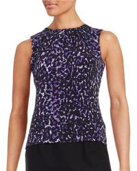 Calvin Klein | Blue Pleated Knit Shell | Lyst