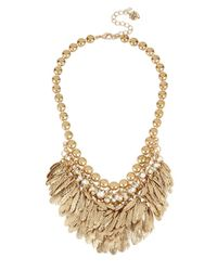 Betsey Johnson | Metallic Gold-tone Feather And Crystal Shaky Collar Necklace | Lyst