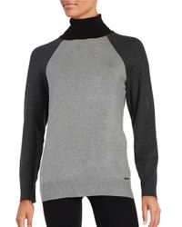 Calvin Klein | Gray Colorblocked Turtleneck | Lyst