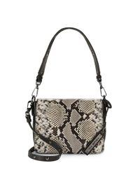 Via Spiga | Black Elinor Snakeskin-embossed Leather Convertible Shoulder Bag | Lyst