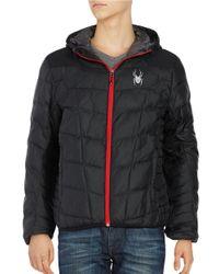 Spyder | Black Geared Down Jacket for Men | Lyst