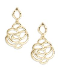 Oscar de la Renta | Metallic Goldtone Hammered Metal Rose Drop Earrings | Lyst