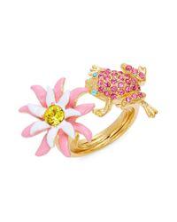 Oscar de la Renta | Metallic Flower And Frog Statement Ring | Lyst