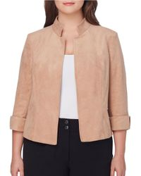 Tahari | Multicolor Plus Three-quarter Sleeve Open Front Jacket | Lyst