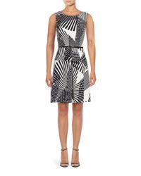Adrianna Papell | Black Sleeveless Striped Print Dress | Lyst