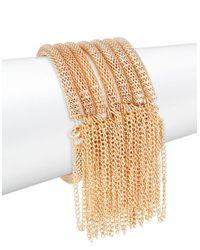 Panacea | Metallic Fringed Layered Goldtone Stretch Bracelets | Lyst