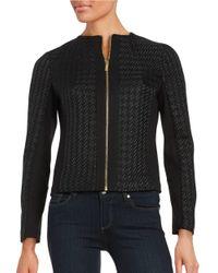 Calvin Klein | Black Mixed Texture Zip Front Jacket | Lyst