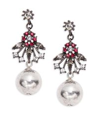 Gerard Yosca   Metallic Floral And Ball Accented Drop Earrings   Lyst