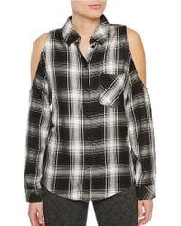 Sanctuary | Gray Plaid Cold-shoulder Shirt | Lyst