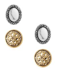 Lucky Brand | Metallic Openwork & Oval Stud Earrings- Set Of 2 | Lyst