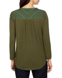 Lucky Brand | Green Lace-up Peasant Top | Lyst