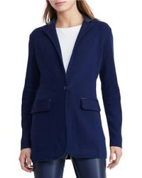 Lauren by Ralph Lauren | Blue Single-button Sweater Jacket | Lyst