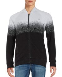 Calvin Klein Jeans | Gray Zip-front Jacquard Sweater for Men | Lyst