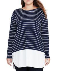 Lauren by Ralph Lauren | Blue Plus Striped Jersey Shirttail Hem Top | Lyst