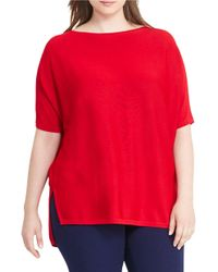 Lauren by Ralph Lauren | Red Plus Solid Boatneck Sweater | Lyst